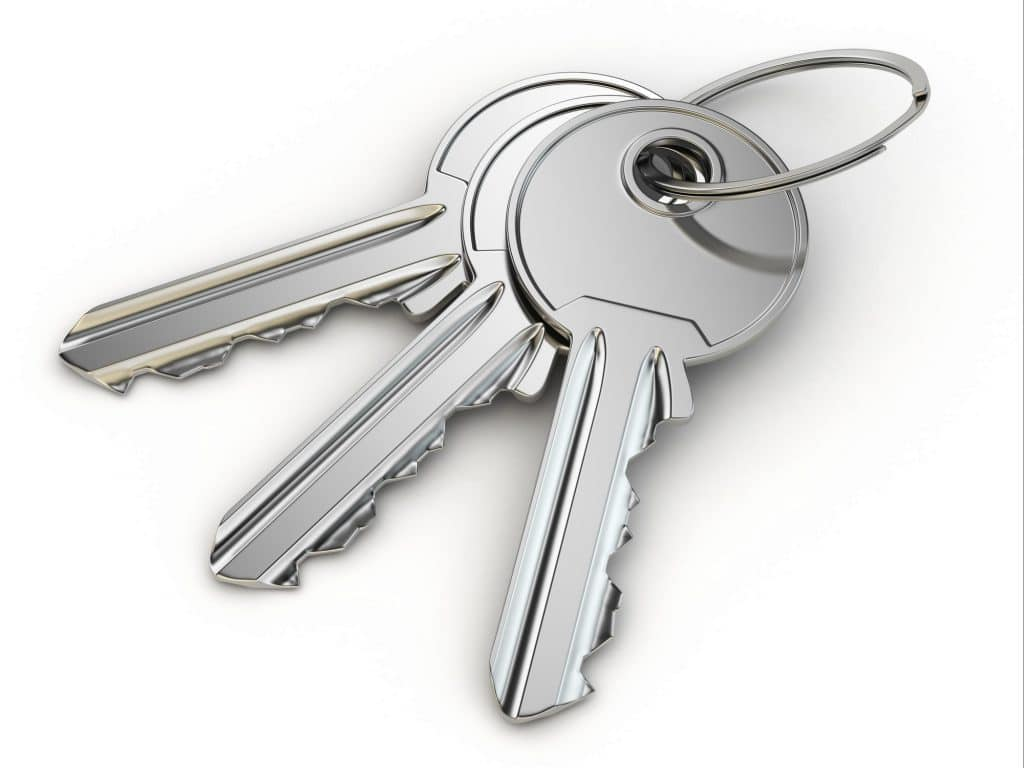 Bunch of keys on white isolated background.